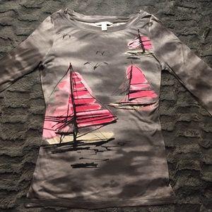 Banana Republic Gray Graphic Long Sleeve T-shirt